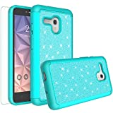 Jitterbug Smart (5.5inch) Case, Glitter Bling Shock Proof Hybrid Case with [HD Screen Protector] Dual Layer Protective Phone Case Cover for Jitterbug Smart Easy-to-Use 5.5 - (Mint)