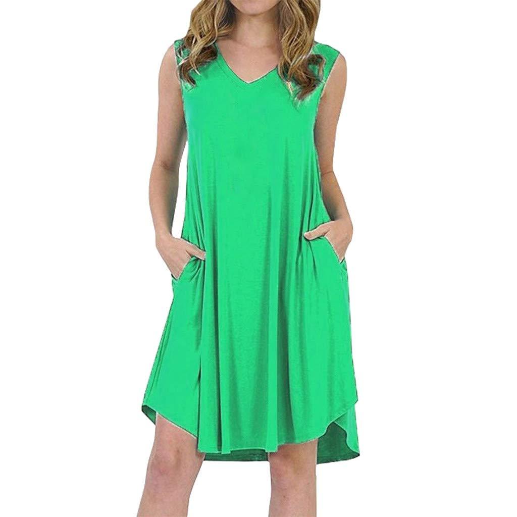 Women Ladies Plus Size Sleeveless V Neck Swing Dress Skater Midi Flared Summer Casual Sundress (L)