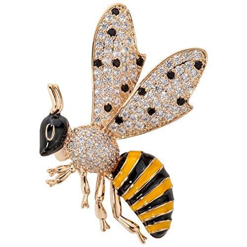 Szxc Jewelry Honey Bee Crystal Cubic-Zirconia Enamel Collection Accessories Brooch Pin Gift Women