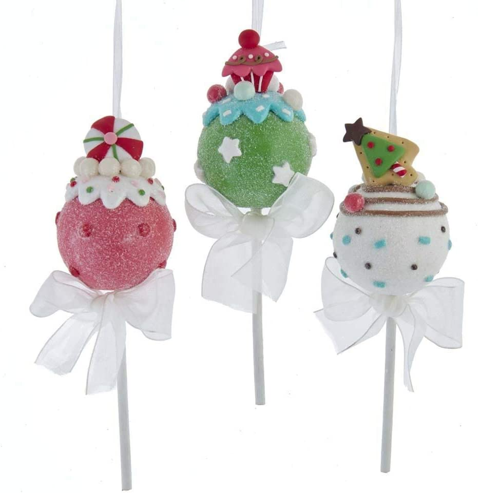 The Bridge Collection Glittered Cake Pop Ornaments, Set of 3