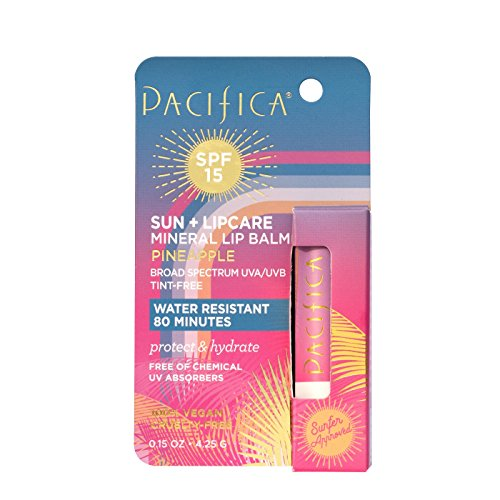 Pacifica Mineral Lip Balm Pineapple SPF 15, 0.15oz, pack of 1 (Pineapple Mineral)