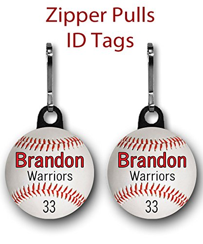 Personalized Baseball Zipper Pulls/Bag Tags 2-Pack 1 inch charms