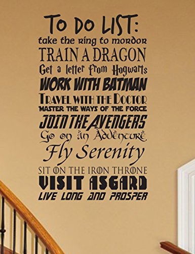 CUSTOMIZABLE To Do List Geek wall decal V1 vinyl wall decal fandom Fantasy cosplay fandom nerd geekery storybook nursery
