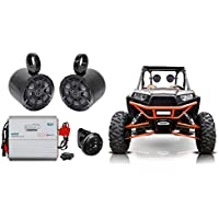 (2) Kicker 6.5 Tower Speakers+2-Ch Amp+Bluetooth Contoller Polaris RZR/ATV/UTV
