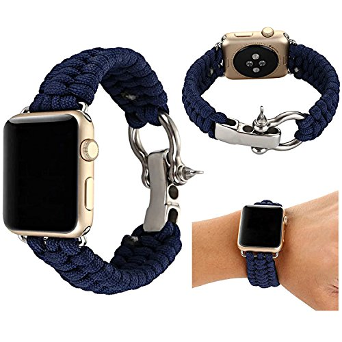 Baokai Apple Watch Band 42mm, Nylon Rope Replacement Paracord Watch Band with Outdoor Survival Stainless Steel Shackle for Apple Watch Series 3 Series 2 Series 1 Sport and (Rope Apple)