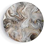 6'' Ceramic Decorative Plate, Art Decoration Marble Ceramic Decorative Plate Retro Style Paintbrush Colors in Marbling Texture Watercolor Artwork Decorative