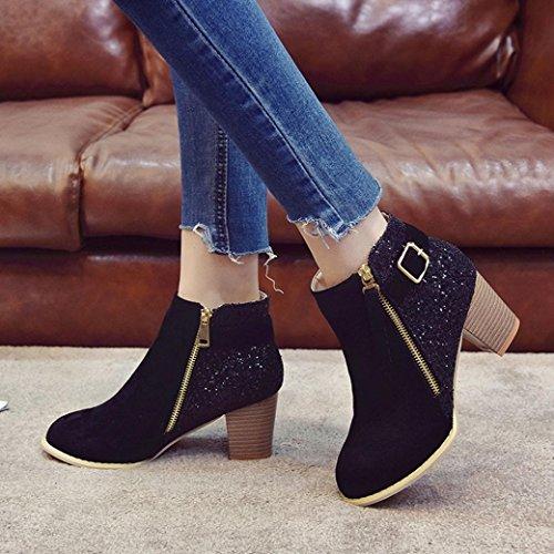 overdose Western Chaussures Bottes Mode Noir Sexy Hiver Boots Automne Carrés A Femmes Talon Métallisée Bottines Femme wfXqUH11x