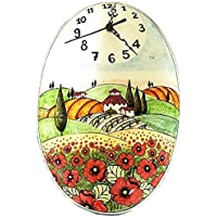 CERAMICHE D'ARTE PARRINI - Italian Ceramic Wall Clock Poppies Art Pottery Painted Made in ITALY Tuscan