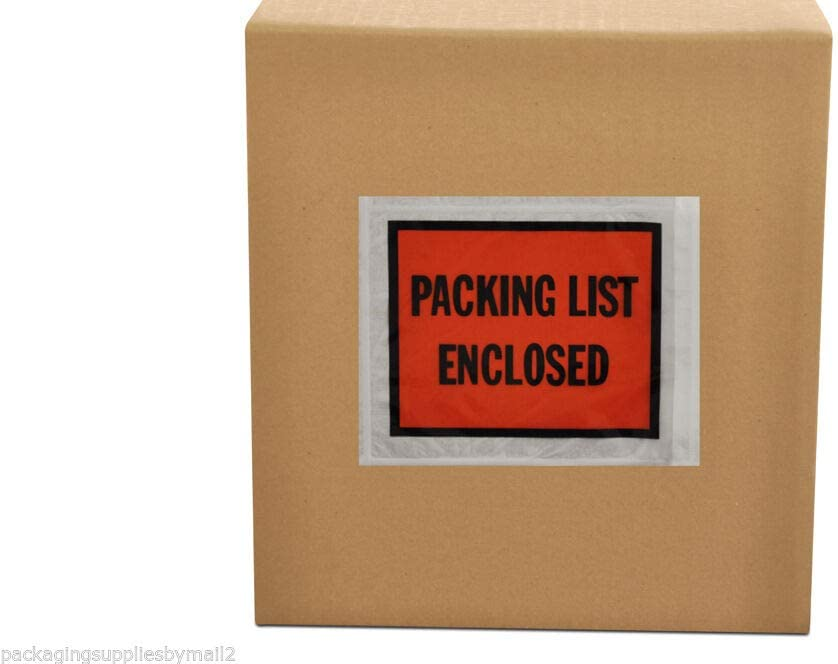 4.5x5.5 Packing List Enclosed Pouches 1000 Pack 4.5 x 5.5 inch Self Adhesive Invoice Label Envelopes Clear Orange
