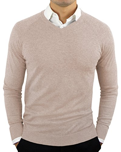 Comfortably Collared Men's Perfect Slim Fit Lightweight Soft Fitted V-Neck Pullover Sweater, Small, Oatmeal Beige2 ()