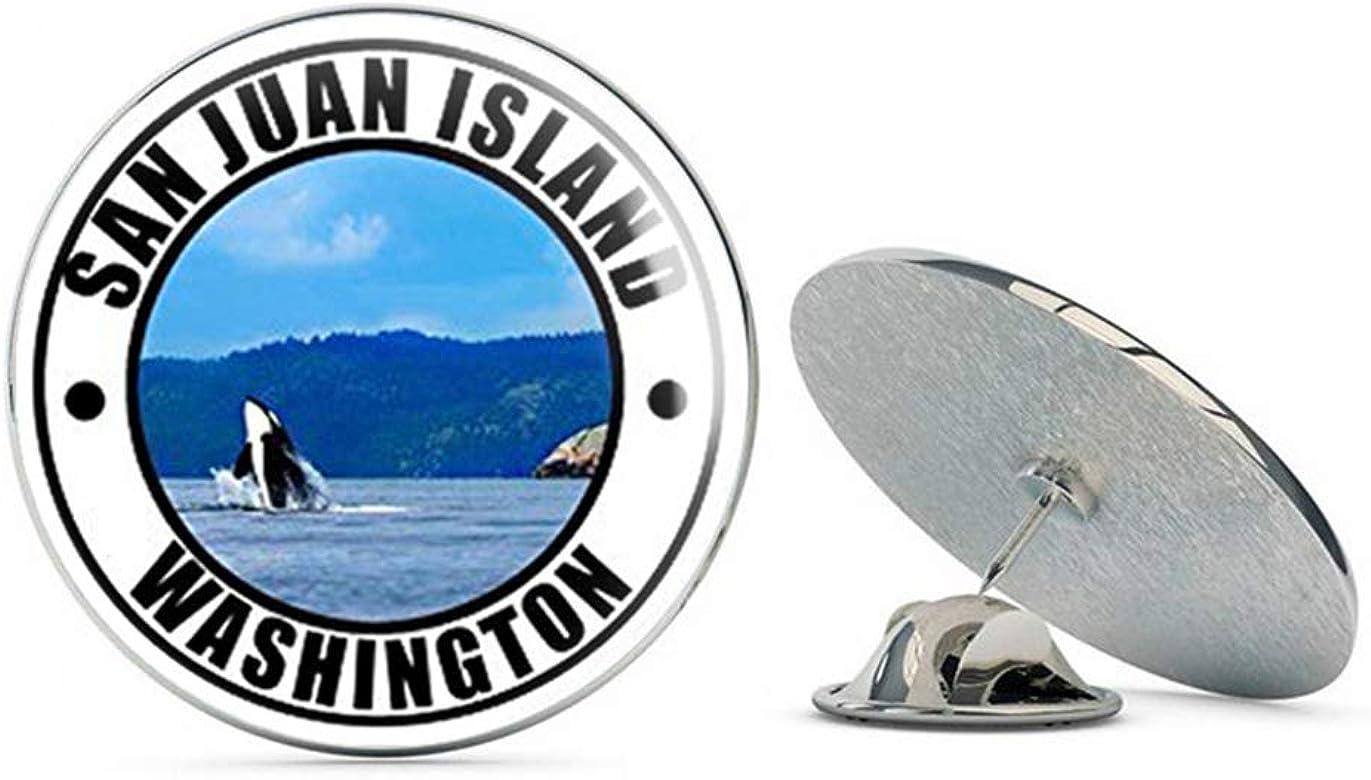 wa rv Travel Resort Metal 0.75 Lapel Hat Pin Tie Tack Pinback NYC Jewelers Round SAN Juan Island Washington