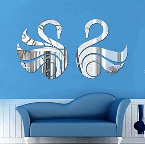 Alrens(TM)2 Lovely Swans Lovebirds Acrylic Mirror 3D Wall Stickers Living Room Backdrop Nursery Room Décor Mural Decal Wall Decor Home Decoration for Children's Gift
