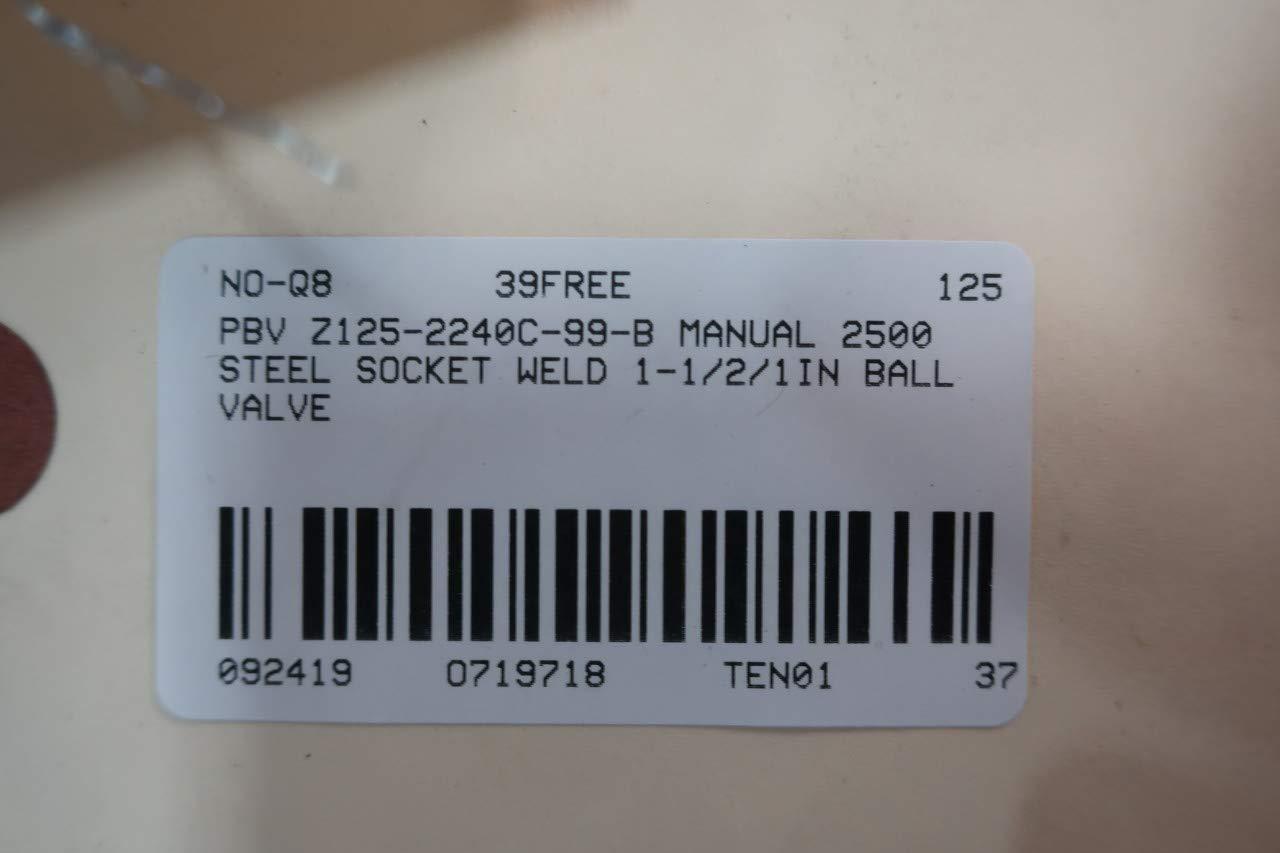 PBV Z125-2240C-99-B Manual 2500 Steel Socket Weld Ball Valve 1-1//2 X 1IN