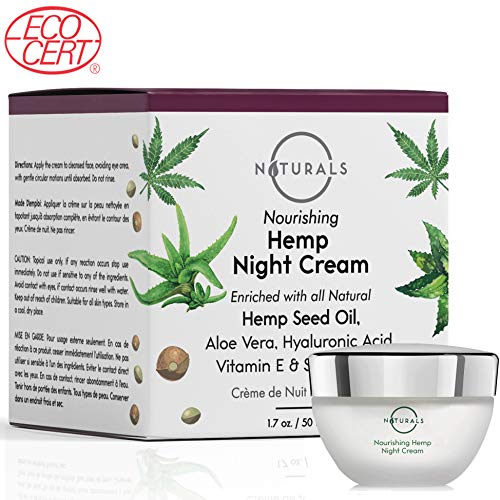 O Naturals Anti-Aging Night Cream ECOCERT Certified Organic – With Hemp Oil + Hyaluronic Acid + Shea Butter + Vitamin E. For Face & Neck. Moisturizes & Repairs Skin. Treats Dry Skin & Redness 1.7 Oz
