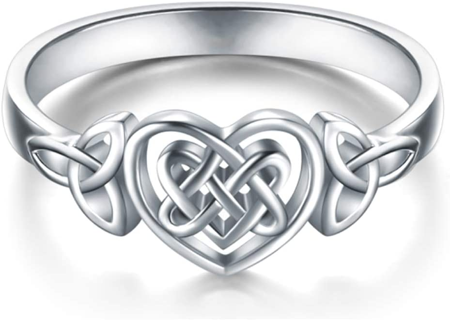 fublousRR5 Finger Rings Simple Women Carved Hollow Love Heart Celtics Knot Girls Statement Finger Rings Party Jewelry Gift Silver US 10