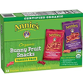 Annie's Homegrown Organic Bunny Fruit Snacks, Variety Pack, 12 Pouches, 9.6 oz Box