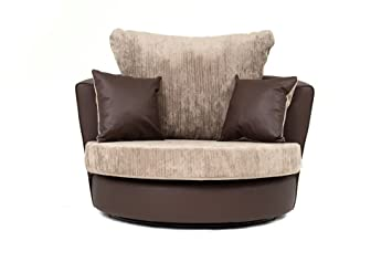 new concept 1d450 d7d6f Dylan Byron Corner Group Sofa Brown and Beige Right or Left (Swivel Chair)