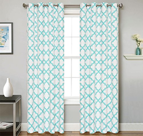 2 Piece Set VUE Window Panels Embroidered Grommet Top Decorative Curtains, 54″x84″ & 54″x95″ (54″x84″, Teal)