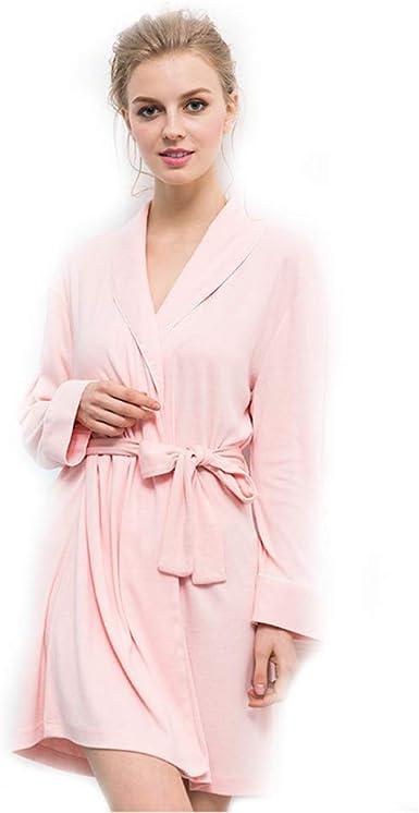 WILLQ Albornoz Ligero de algodón Kimono para Mujer Ropa de Dormir Suave, Rosado, L: Amazon.es: Ropa y accesorios