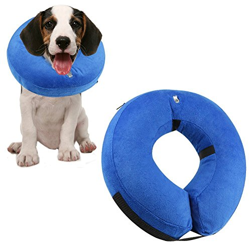 Protective Inflatable Collar for Dogs and Cats,Recovery Pet Cone E-collar, Soft,Adjustable, Anti-Bite Scratch for Wound Healing Medical Grooming (L: Neck 15-20)