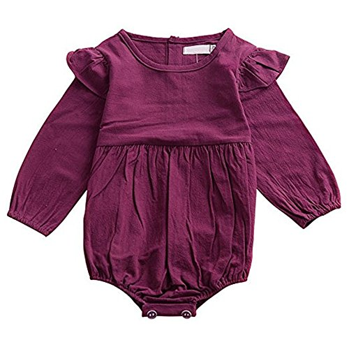 Mother\'s Angel Infant Romper Baby Girl Twins Outfit Long Sleeve Ruffle Bodysuit