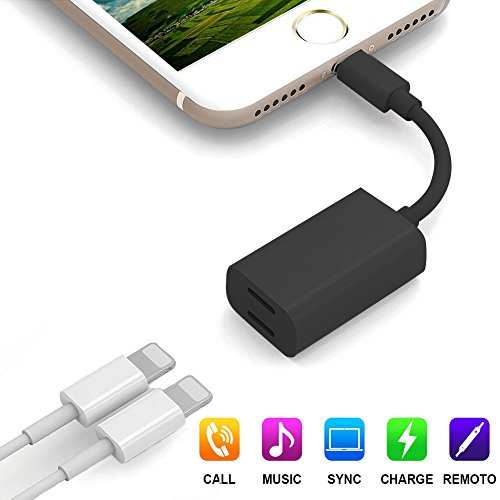 LEOGEO Dual Lightning Adapter Splitter For iPhone 7/7 Plus, Lightning To Double Lightning Headphone Charge Adapter, Support iPhone 8/8Plus/X IOS 11/10.3 Devices - Black