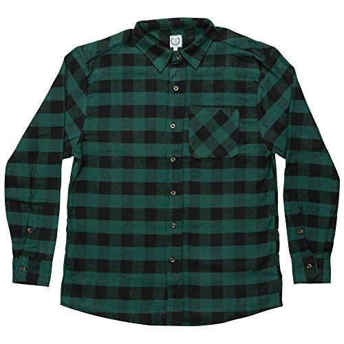 Green Plaid Flannel Shirt (North 15 Men's%100 Cotton Buffalo Plaid Y/D Flannel Shirt-635-Blk-Grn-Md)