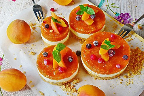 Quality Prints - Laminated 36x24 Vibrant Durable Photo Poster - Quark Tart Apricots Fruits Cake Quark Berries Dessert Coffee Time Bake Cream Delicious Sweet Sugar Food Preparation Nutrition ()