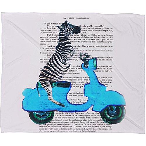 Deny Designs  Coco De Paris, Zebra On Blue Vespa, Fleece Throw Blanket, Medium, 60