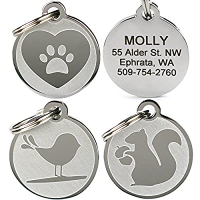 Playful, Custom Engraved Pet ID Tags. Solid Stainless Steel. Personalized Dog & Cat Pet Identification. Durable & Long Lasting Pet ID. by GoTags
