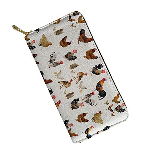 doginthehole Chicken Print Women Wallet Zip Around Clutch Ladies Travel Coin Purse