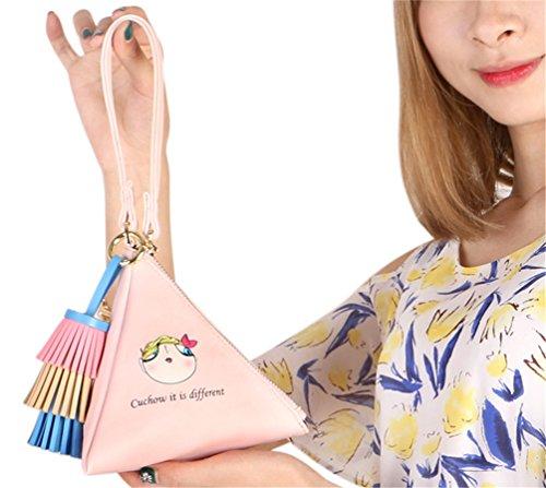 PU Triangle Women's C91448 Pink Strap Wrist Clutch Leather Wallet LIZHIGU Purse Wristlet With 5XRw6qXA