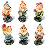 Juvale Set of 6 Mini Gnome Figures - Fairy Garden Gnomes - Gnome Figurines, Assorted Colors, 1.7 x 4 x 1.6 Inches