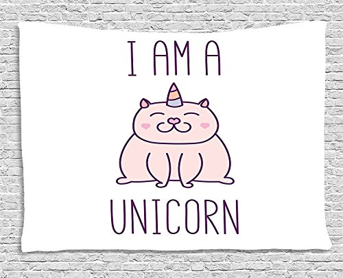 Unicorn Cat Tapestry, Fantasy Animal withI am a Unicorn Quote Lovely Funny Fictive Kitten, Wall Hanging for Bedroom Living Room Dorm, 80 W X 60 L Inches, Baby Pink Purple by asddcdfdd
