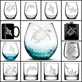 Choose your Sea Life Glass with Sea Turtle, Dolphin, Stingray, or Hamerhead Shark, Etched on Wine, Beer, Whiskey, Pint Glasses, Flask, Coffee Cup or Mug by Integrity Bottles