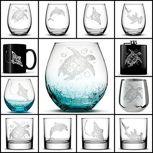 Choose your Sea Life Glass with Sea Turtle, Dolphin, Stingray, or Hamerhead Shark, Etched on Wine, Beer, Whiskey, Pint Glasses, Flask, Coffee Cup or Mug by Integrity - Stingray Glass