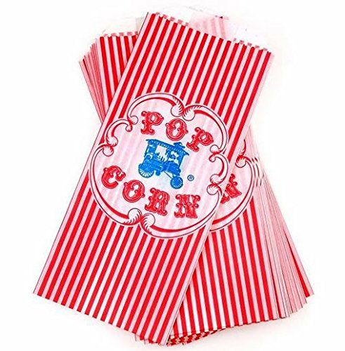 Vintage Retro Style Red Striped Wagon Popcorn Bag - 100 Count by Beach Party -