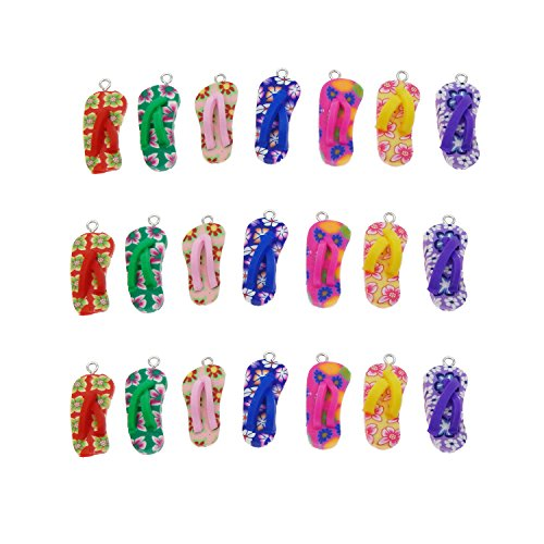 Julie Wang 40pcs Polymer Clay Flip Flop Charms for Jewelry Making 12x26mm (Flop Craft Flip)