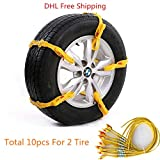 Ronben 10pcs/set New Reusable Tire Chain Car/SUV/Truck Snow Tire Antiskid Chain safety kit DHL Free Shipping