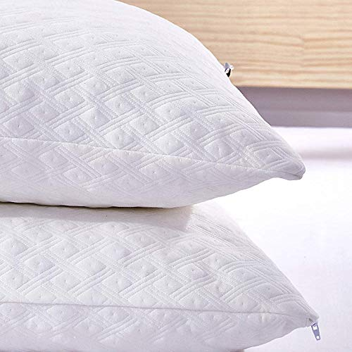 Dreaming Wapiti Pillows for Sleeping, 2 Pack Shredded Memory Foam with Machine Washable Bamboo Cover, Adjustable Loft-Stomach Side Back Sleeper (Queen), (2-Pack), White