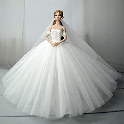 Zehui Wedding Dress Tutu Dress Elegant Boat Neck Collar Evening Long Dress 30cm Dolls,Handmade Clothes Dress 30cm Doll Xmas Gift (Without Dolls): Toys & Games