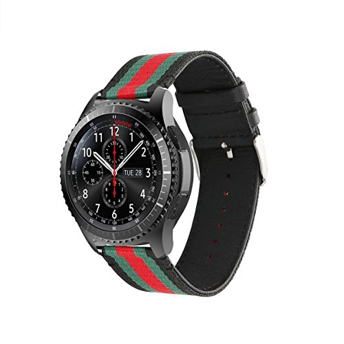 HandyGear Sport Band Compatible Gear S3 Frontier Classic Galaxy Watch 46mm Smart Watch, 22mm Nylon Style Leather Sports Replacement Strap Samsung Gear S3 Frontier Classic (S3 Canvas Black)