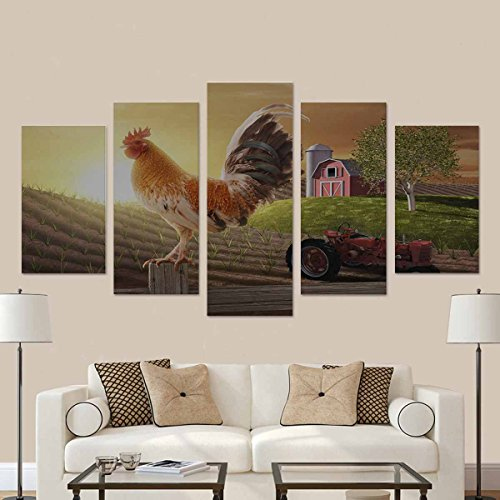 InterestPrint Rooster Perched Upon Farm Fence Post as the Sun Rises Behind Him Home Decor Artwork Wall Art 5 Pieces Paintngs Print on Canvas No Framed for Living Room - Canvas Rooster Print Set