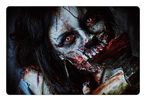 Ambesonne Zombie Pet Mat for Food and Water, Scary Dead Woman with a Bloody Axe Evil Fantasy Gothic Mystery Halloween Picture, Rectangle Non-Slip Rubber Mat for Dogs and Cats, -