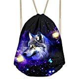 Dellukee Gym Sack Bag Teens Cool Printed Children Trip Sport Drawstring Backpacks