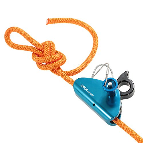 Lixada Rock Climbing Fall Protection Rescue Rope Grab Aluminum with Spring Tensioned Pin Easy Rope Installation