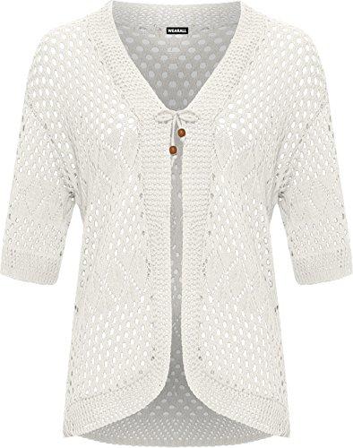 Wearall Women's Plus Crochet Knitted Open Tied Cardigan Ladies Short Sleeve Shrug Top - White - US 12-14 (UK (White Short Sleeve Sweater)