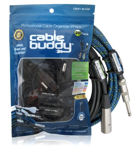 Cable Buddy® 20-pack, Black - Cable Organizer Ties with Color ID Labels