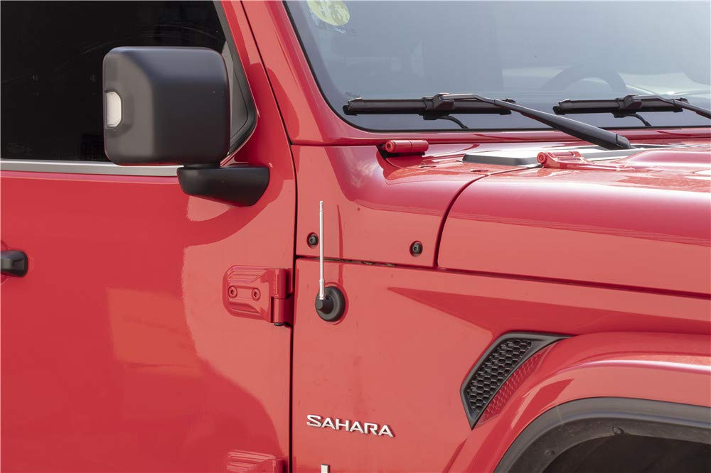 Silver, 33CM 2007-2019 Jeep Wrangler JK and JL Direct Replacement Spiral Short Thread Screw Type Short Radio Antenna