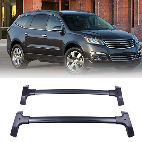 LUJUNTEC Aluminum Roof Mounted Roof Rack Cross Bar Set Fit for 2009-2017 Chevrolet Traverse Sport Utility 4-Door 3.6L Top Rail Carries Luggage Carrier